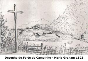 Desenho do forte do Campinho - Maria Graham 1823